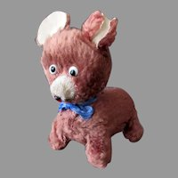 Vintage Wind Up Plush Walking Dog Toy