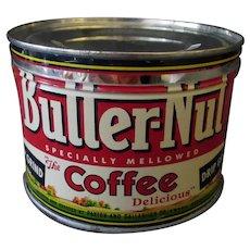 Vintage 1# Key Wind Coffee Tin- Butter-Nut - One Pound Tin