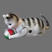 Vintage Wind Up Tin & Celluloid Toy - Tumbling Cat with Ball – Japan