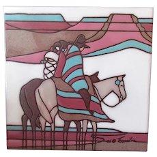 Vintage Ceramic Art Tile - Southwest Indian Motif in Muted Tones - Cleo Teissedre