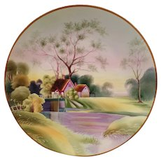 Vintage Morimura Nippon - Pretty Hanging Plate with Lavender and Green Springtime Scene