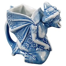 Vintage Schafer & Vater Porcelain Pitcher - Blue Woman - S&V Germany