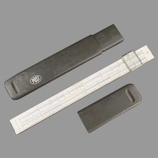 Vintage Post #1447 Slide Rule with Magnifing Bar with Case - Hemmi Japan