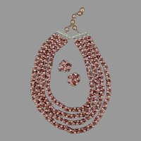 Vintage Costume Jewelry - Multi-Strand Bead Necklace with Matching Earrings - Hong Kong