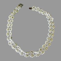 Vintage Faux Pearl and Gold Bead Choker Necklace - Japan
