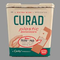 Vintage 1960's Curad Plastic Bandages Tin with Nice Graphics Medical Advertising