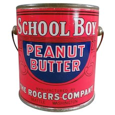 Vintage One Pound School Boy Peanut Butter Pail Tin - Rogers of Seattle, Washington