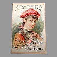 Vintage 1891 Vigoral Extract Advertising Trade Card - Armour's Vigoral