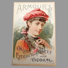 Vintage 1891 Vigoral Extract Advertising Trade Card - Armour's Vigoral