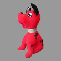 Vintage Stuffed Toy Dog - Red Puppy with Black Spots