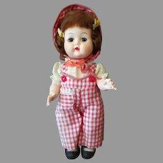 "Adorable Vintage 10"" Walker Doll in Darling Gingham Outfit - 1950's"
