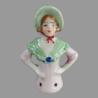 Vintage Porcelain Half Doll - Young Lady with Bonnet Pincushion Doll