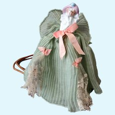 Vintage Porcelain Half Doll Boudoir Night Light Lamp - Original Frilly Dress