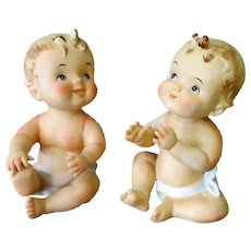Set of Two Vintage Norcrest Porcelain Kewpie Style Piano Baby Figurines
