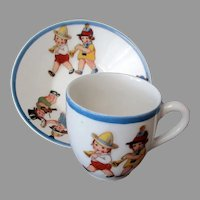 Vintage Cup and Saucer - Adorable Little Children Playing Musical Instruments