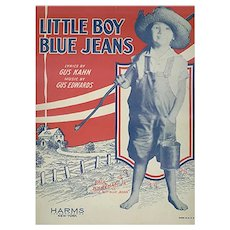 Vintage 1928 Sheet Music by Gus Kahn - Little Boy Blue Jeans