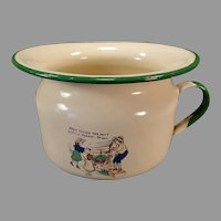 Child's Vintage Enamelware Chamber Pot with Nursery Rhyme - Little Johnny Stout