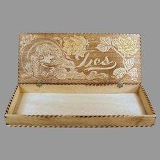 Vintage Folk Art Pyrography - Wood Tie Box with Burned Art Nouveau Design
