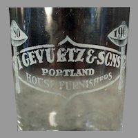 Vintage Gevurtz and Sons Furniture Store, Portland Oregon Advertising Glass