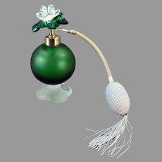Vintage 1950's Irice Perfume Atomizer - Emerald Green Satin Glass with Jeweled Flower Cap