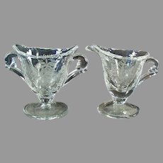 Vintage Heisey Glassware Orchid Etch on Waverly - Individual Cream & Sugar Set