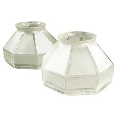 Pair of Vintage Frosted Glass Light Shades with Angular Shape - Large Neck Size