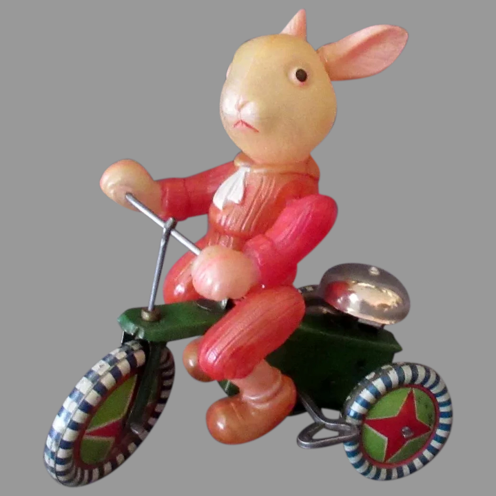 Vintage Tin Windup Toy Tin Cat on Tricycle Ringing Bell