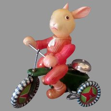 Vintage Occupied Japan Celluloid Bunny Rabbit on Tin Wind Up Tricycle - Large Size