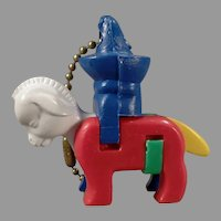 Vintage Dexterity Puzzle Key Chain - Donkey with a Rider wearing a Sombrero