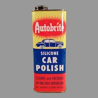 Vintage Automotive Advertising Tin - Johnson's Wax Autobrite Car Polish Tin