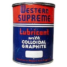Vintage Automotive Advertising - Western Auto Supreme Lubricant Automotive Grease Tin