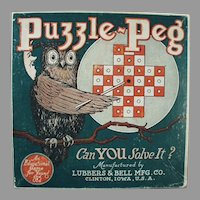 Vintage Toy Box - Puzzle Peg Game Box with Fun Owl Graphics