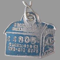 Vintage Escondido Humane Society Dog House Dog License Tag