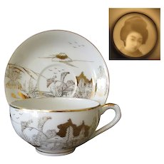 Vintage Kutani Tea Cup & Saucer – Gold on White Scene with Geisha Lithophane