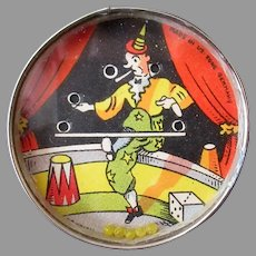 Vintage Dexterity Puzzle Mirror – Miniature Skill Game with Juggling Clown, U.S.Zone Germany