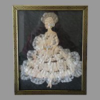 Fun 1930's Vintage Wall Hanging – Paper Doll Lady in Silk Flower Dress