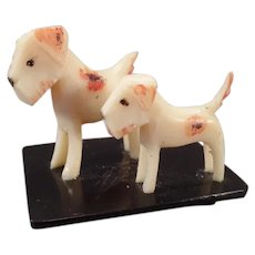 Vintage Celluloid Miniature with Two Little Terrier Dogs