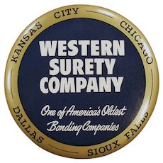 Large Vintage Celluloid Advertising Paperweight Mirror - Western Surety Advertising