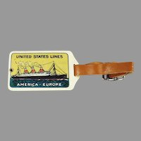 Vintage 1920's Celluloid Luggage Tag - United States Ship Lines - U.S.L. America Europe