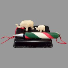 Vintage Miniature Celluloid Elephants - Desk Top Pencil Holder – Japan