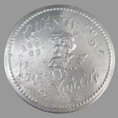 Vintage Aluminum Quentin's Breath of Violets Advertising Tin with Cherub Design