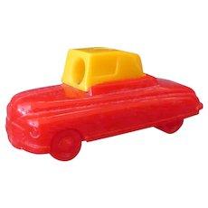 Vintage Plastic Car Pencil Sharpener – Red and Yellow Sedan