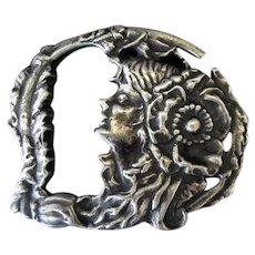 Vintage Art Nouveau Cast Belt Buckle with Attractive Image – Silver Colored Metal