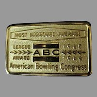 Vintage 1960's Award Belt Buckle – ABC Most Improved Average Bowling Award