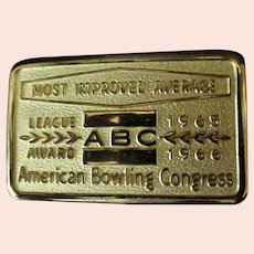 Vintage 1960's Award Belt Buckle – ABC Most Improved Average Bowling Award