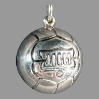 Vintage Sports Sterling Silver Charm - Early Soccer Ball Design