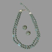 Vintage Necklace & Earring Suite - Japan Costume Jewelry Textured Beads and Aqua Glass