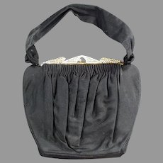 Vintage Evening Bag Clutch Purse - Black with Rhinestone Clasp - Guild Creations