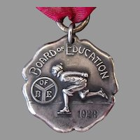 Vintage 1928 Sterling Silver Ice Skating Medal - Beautiful Detail