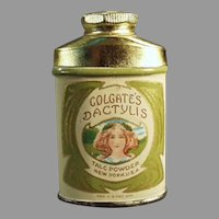 Vintage Colgate's Dactylis Sample Talc Tin with Pretty Girl Graphics
